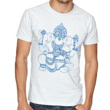 White Ganesh Printed T-Shirt For Men