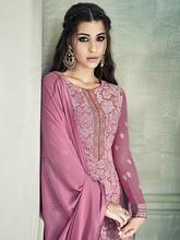 Stylee Lifestyle Pink Georgette Embroidered Dress Material (2192)