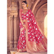 Style Lifestyle Designer Banarasi Red Saree with Elegant Floral Design With Jari & Woven Border with Red Blouse for Wedding, Party and Festival