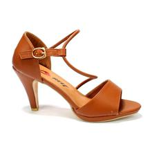 Cherry Brown Ankle Strap Heel Shoes For Women - 7201-A