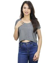 Grey Solid Crop Top For Women
