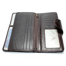 Genuine Leather Wenz Long Wallet Unisex Bifold Purse Coffee Brown