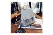 Korean Design PU Leather School Laptop Fashion Backpack-Blue (41001737)
