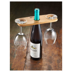Bamboo Wine Bottle and Glasses Valet-1
