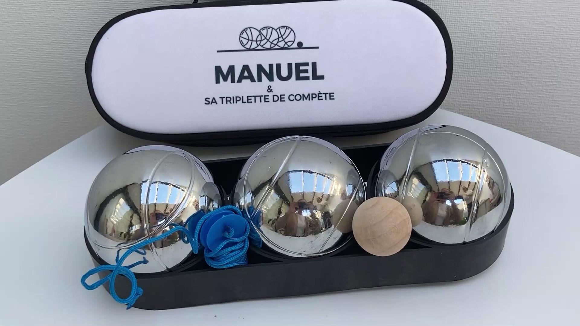 Sacoche de Pétanque personnalisable avec option Triplette de boules de pétanque - Design Noir