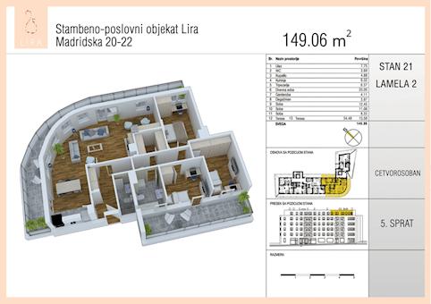 4 tip nekretnine - 149,06 m² - Lira-Zvezdara