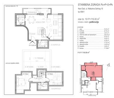 3 tip nekretnine - 116 m² - Maksima Gorkog 5