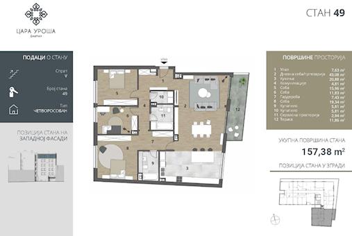 3 tip nekretnine - 157,38 m² - Cara Uroša - Dorćol