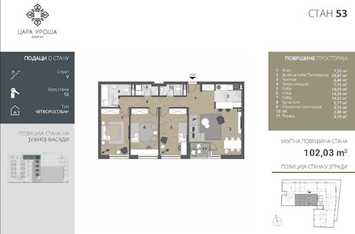 4 tip nekretnine - 102,03 m² - Cara Uroša - Dorćol