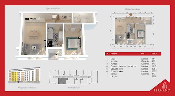 2 tip nekretnine - 58 m² - Permano I - Kornelija Stankovića 44
