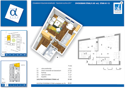 2 tip nekretnine - 51,95 m² - Alpha City