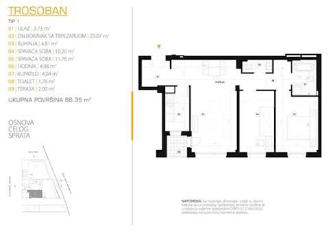 3 tip nekretnine - 66,35 m² - East Side