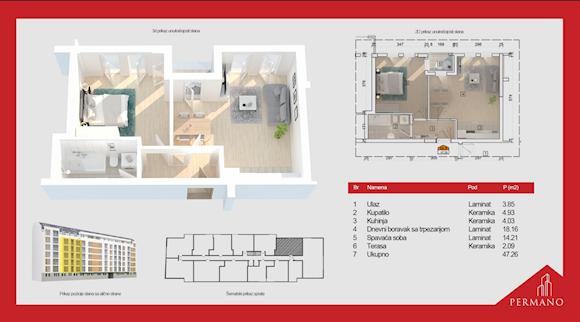 2 tip nekretnine - 47,26 m² - Permano I - Kornelija Stankovića 44