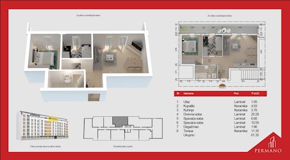 2 tip nekretnine - 61,35 m² - Permano I - Kornelija Stankovića 44