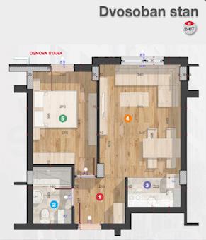 2 tip nekretnine - 37,2 m² - Rotkvarija Residence
