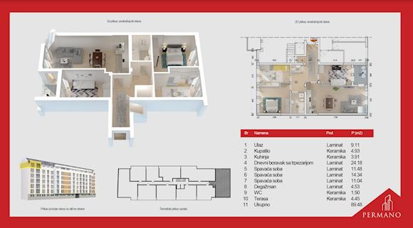 4 tip nekretnine - 89,48 m² - Permano I - Kornelija Stankovića 44