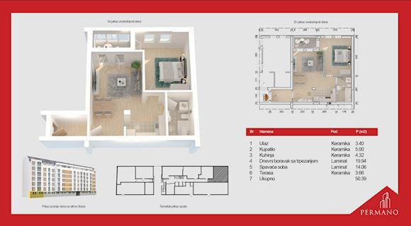 2 tip nekretnine - 50,39 m² - Permano I - Kornelija Stankovića 44