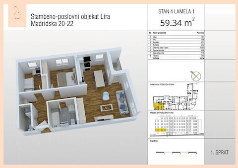 2 tip nekretnine - 59,34 m² - Lira-Zvezdara