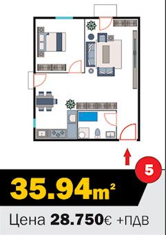1 tip nekretnine - 35,94 m² - Kralja Petra