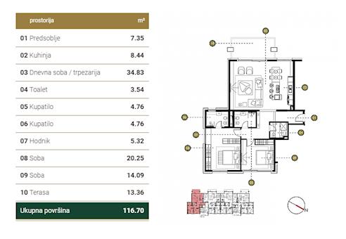3 tip nekretnine - 116,7 m² - Green Hill Dedinje