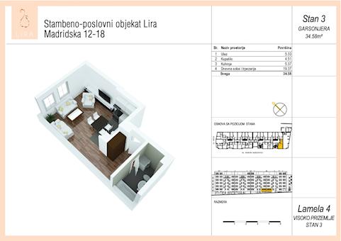 0 tip nekretnine - 34,58 m² - Lira-Zvezdara