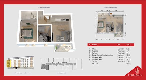 2 tip nekretnine - 56,07 m² - Permano I - Kornelija Stankovića 44