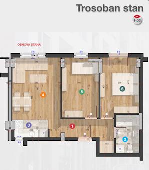 3 tip nekretnine - 49,46 m² - Rotkvarija Residence