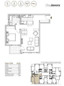 2 tip nekretnine - 54,74 m² - Dva javora