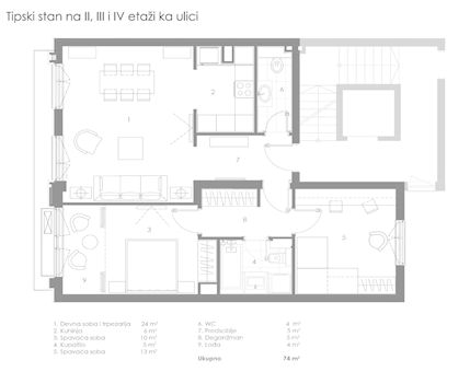 2 tip nekretnine - 74 m² - STAMBENO POSLOVNI OBJEKAT KNEGINJE ZORKE 28