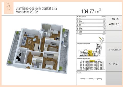 4 tip nekretnine - 104,77 m² - Lira-Zvezdara