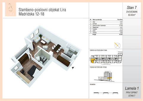 2 tip nekretnine - 63,83 m² - Lira-Zvezdara