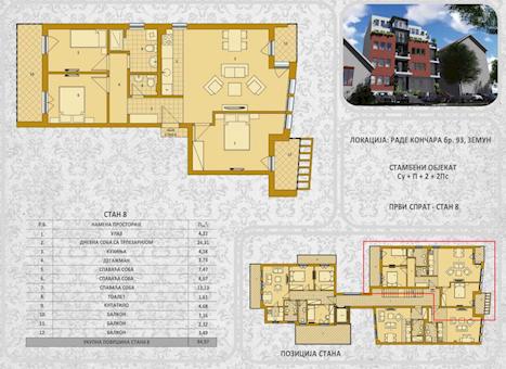 3 tip nekretnine - 84,97 m² - Rade Končara 93