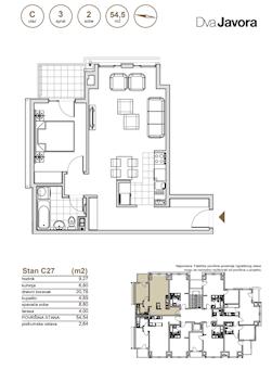 2 tip nekretnine - 54,54 m² - Dva javora