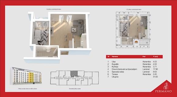 1 tip nekretnine - 41,65 m² - Permano I - Kornelija Stankovića 44