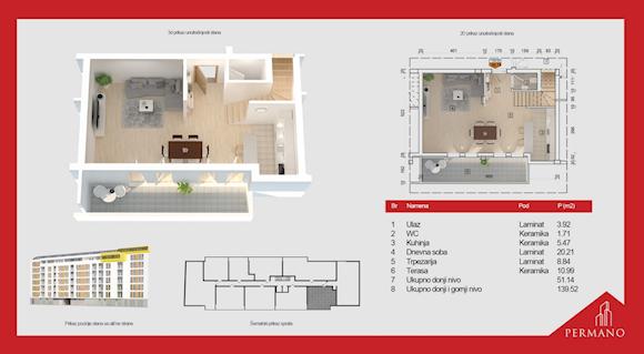 5 tip nekretnine - 139,52 m² - Permano I - Kornelija Stankovića 44