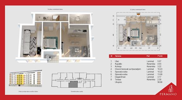 2 tip nekretnine - 56,66 m² - Permano I - Kornelija Stankovića 44
