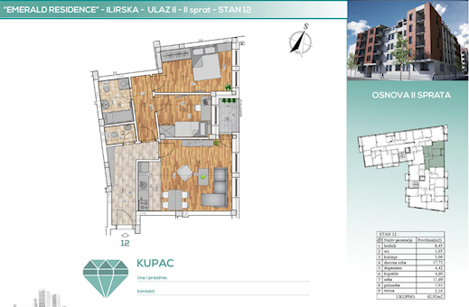 2 tip nekretnine - 62,92 m² - Emerald Residence 1