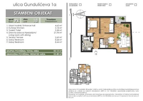 3 tip nekretnine - 53,48 m² - Gundulićeva 1a
