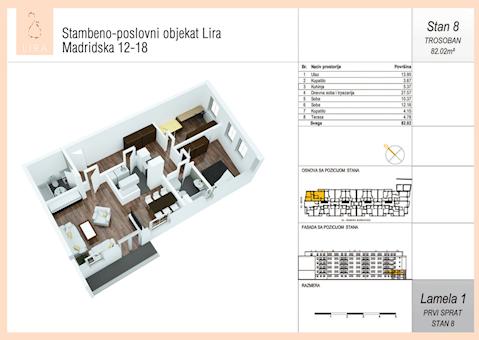3 tip nekretnine - 82,02 m² - Lira-Zvezdara