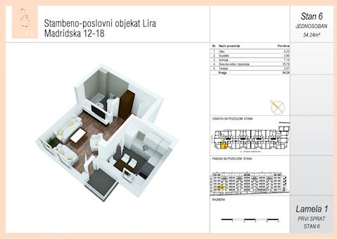 1 tip nekretnine - 34,24 m² - Lira-Zvezdara
