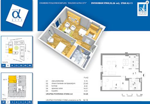 2 tip nekretnine - 53,26 m² - Alpha City