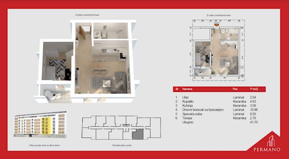 1 tip nekretnine - 41,7 m² - Permano I - Kornelija Stankovića 44