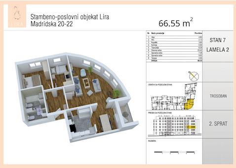 2 tip nekretnine - 66,55 m² - Lira-Zvezdara