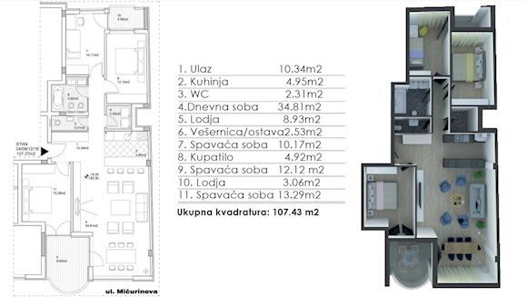 3 tip nekretnine - 107,43 m² - Graviton Residence