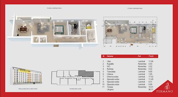 4 tip nekretnine - 90,11 m² - Permano I - Kornelija Stankovića 44