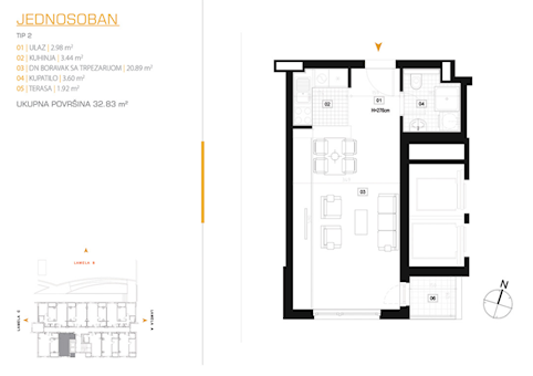 1 tip nekretnine - 32,83 m² - East Side
