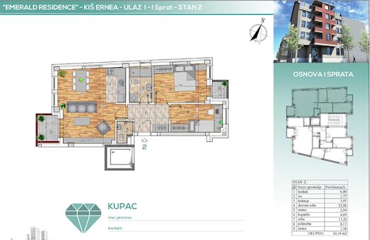 2 tip nekretnine - 62,16 m² - Emerald Residence 2