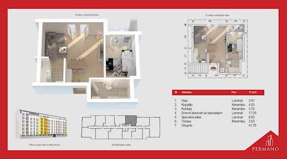 1 tip nekretnine - 41,76 m² - Permano I - Kornelija Stankovića 44