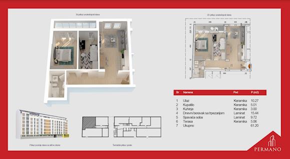 2 tip nekretnine - 61,2 m² - Permano I - Kornelija Stankovića 44