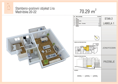 1 tip nekretnine - 70,29 m² - Lira-Zvezdara